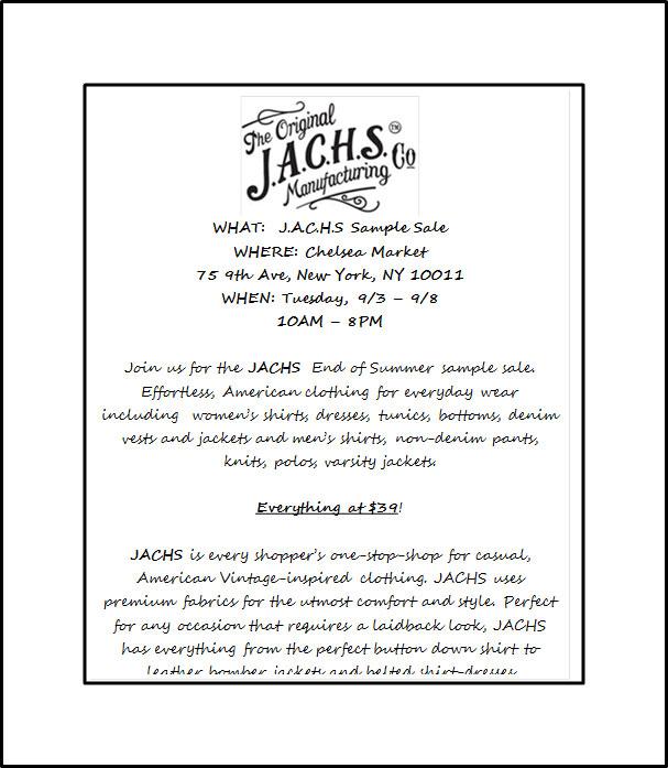 J.A.C.H.S End of Summer Sample Sale