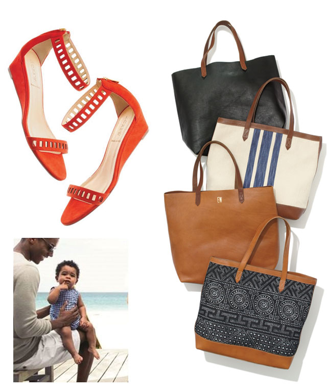 Lillian Sandals: $65 (orig. $138), Madewell transport tote: $45-$90 (orig. $138-$168)