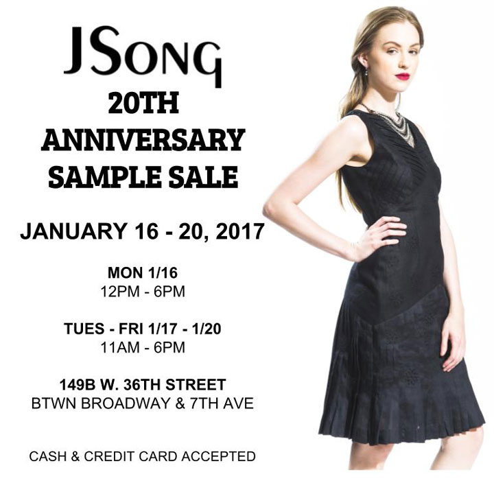 JSONG 20th Anniversary Sample Sale