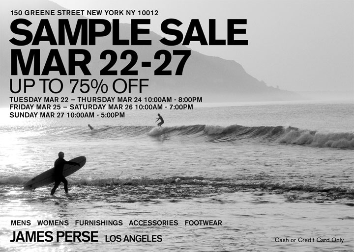 James Perse Clothing & Accessories New York Sample Sale ...