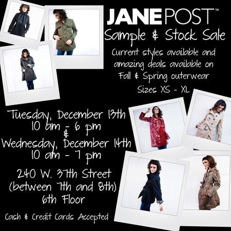 Jane Post Sample & Stock Sale