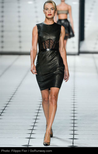 Jason Wu's leather dress shows off the midriff, but is still chic and refined