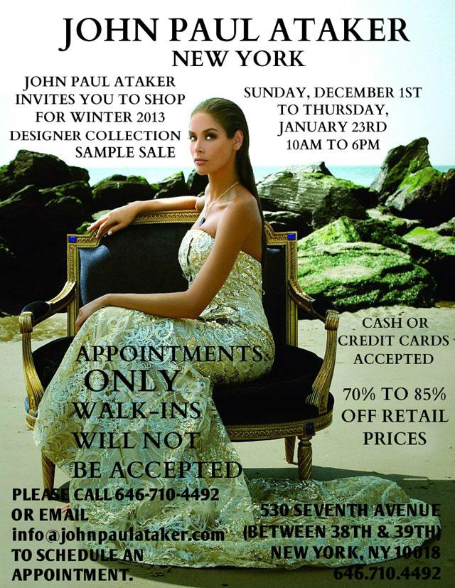 John Paul Ataker Winter2013 Sample Sale