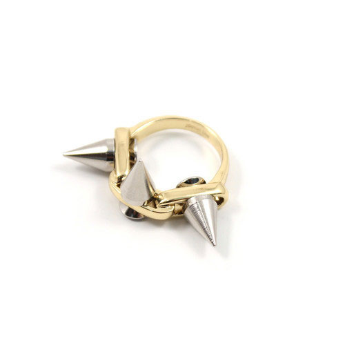 Joomi Lim Metal-luxe ring with 3 spikes - gold/silver spikes: $30 (orig. $79)
