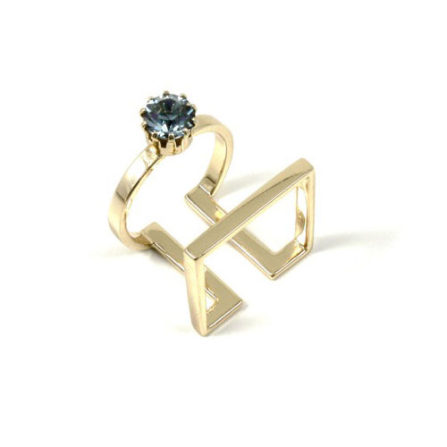 Joomi Lim Shape shifter round & square ring w/ crystal - gold / indian sapphire: $40 (orig. $120)
