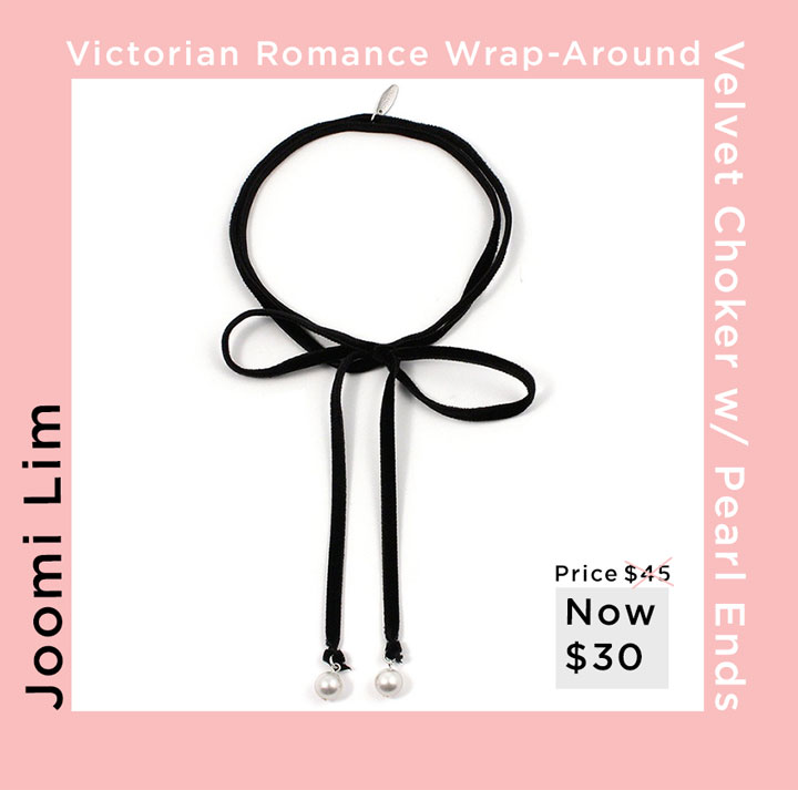 Victorian Romance wrap-around velvet choker with pearl ends for $30, originally $45