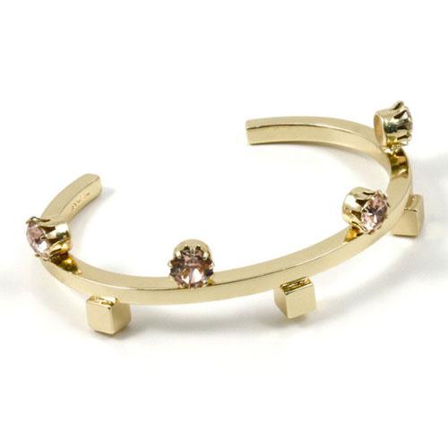 Joomi Lim round cuff w/ cubes & crystals - gold / vintage rose: $80 (orig. $300)