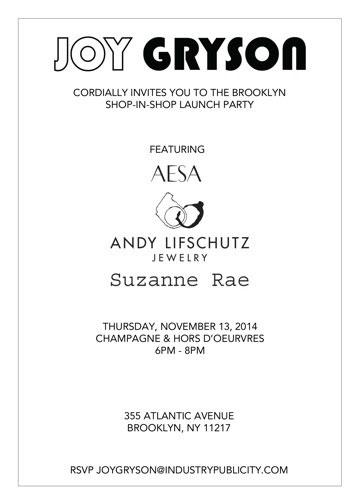 Joy Gryson Brooklyn Shop-In-Shop Event
