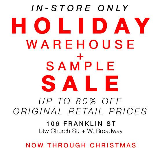 Joy Gryson Holiday Warehouse Sample Sale