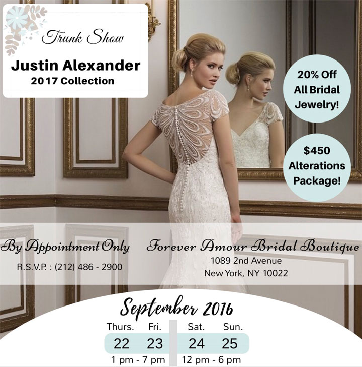 Justin Alexander 2017 Collection Trunk Show