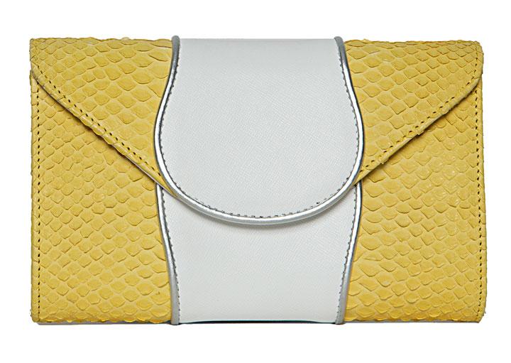 Khirma Babo Clutch Yellow Python