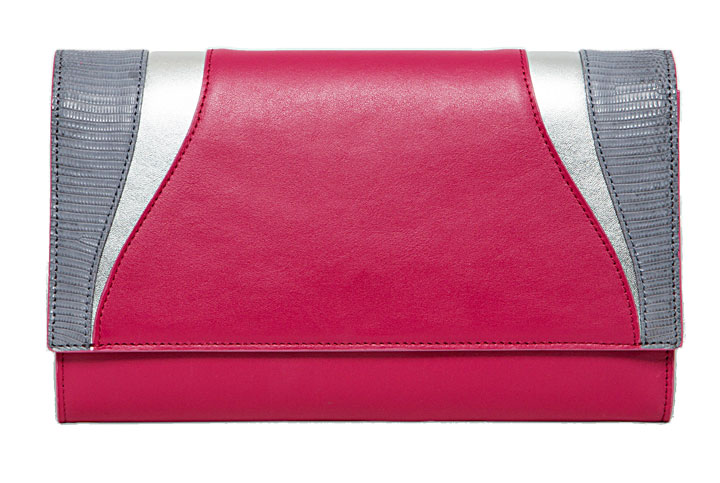 Khirma Katerine Clutch Fuchsia Leather