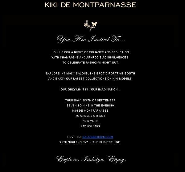 Celebrate Fashion's Night Out New York with Kiki de Montparnasse