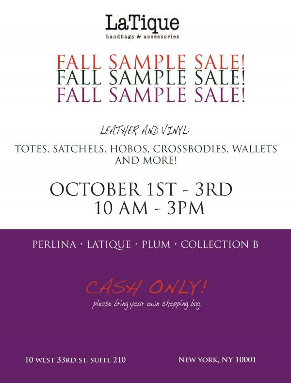 LaTique Handbags Fall Sample Sale