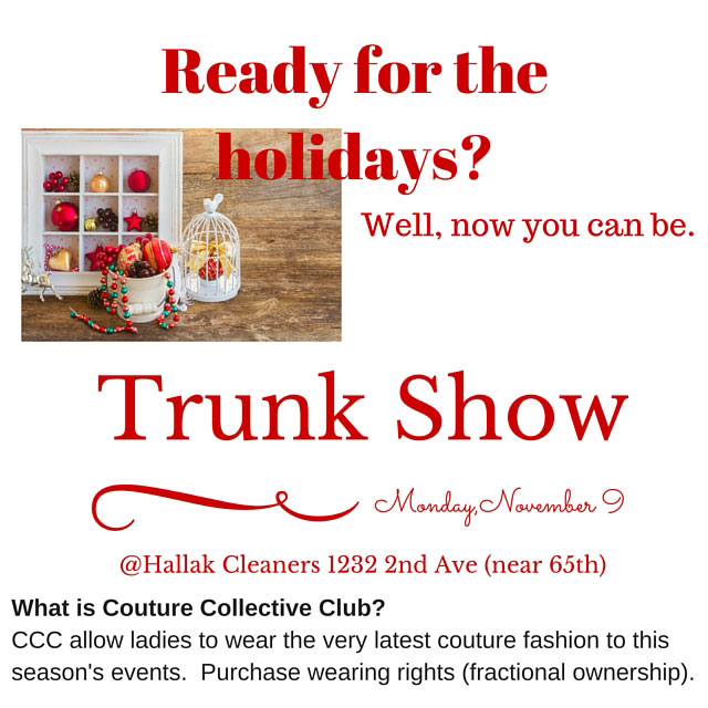 Ladies' Couture Fashion Holiday Trunk Show
