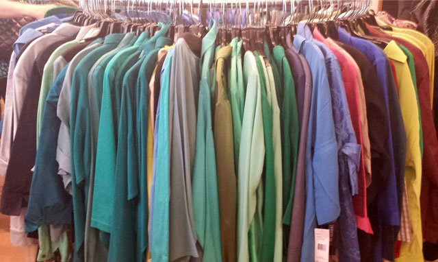 Clothing is not only organized by style and type, but by color as well