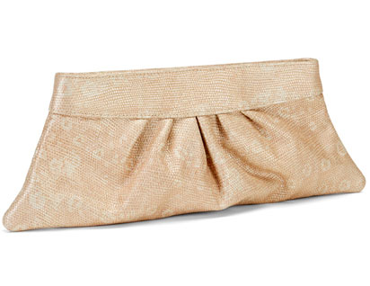 The Louise clutch in nude/gold lizard: $100 (orig. $225)