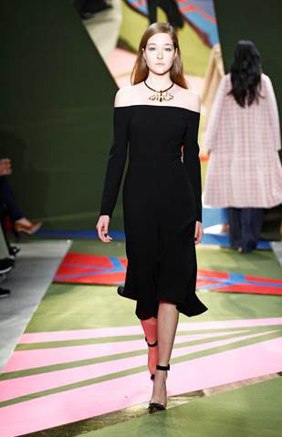 Lela Rose Black Wool Crepe Off The Shoulder Dress: Retail $1,595 – Sample Sale Price is $575