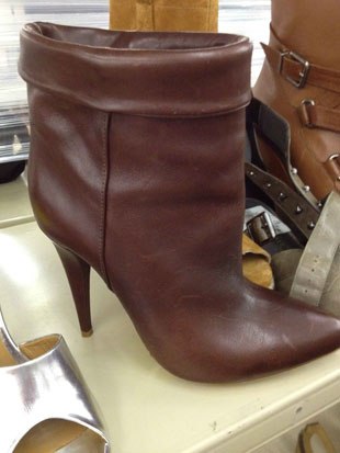 Loeffler Size 6.5 Brown Leather Ankle Boots)
