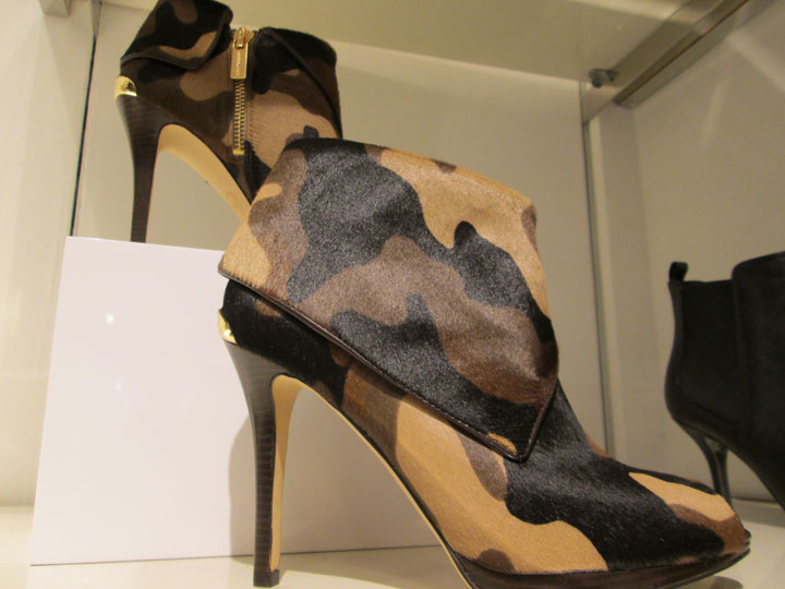 Stiletto anklets from Michael Kors in camoflage pony were a hot item