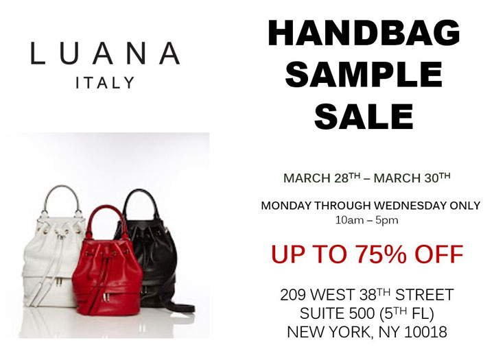 Luana Italy Handbag Sample Sale