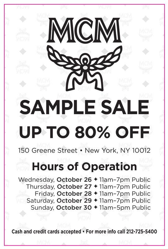 MCM Sample Sale