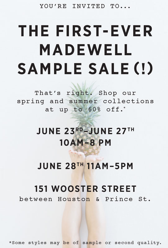 Madewell Clothing & Accessories New York Sample Sale ...