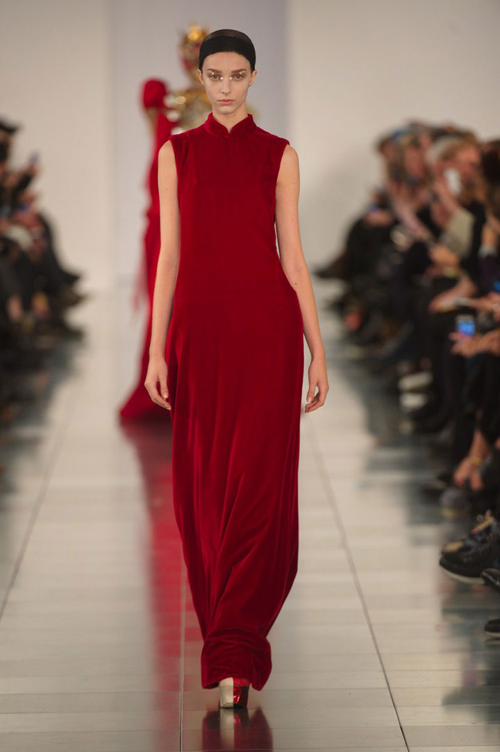 Red silk velvet dress from Maison Margiela SS15 Artisanal Collection