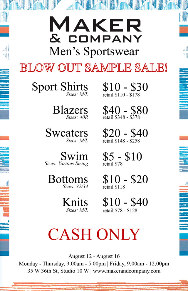 Maker & Company Blow Out Sample Sale