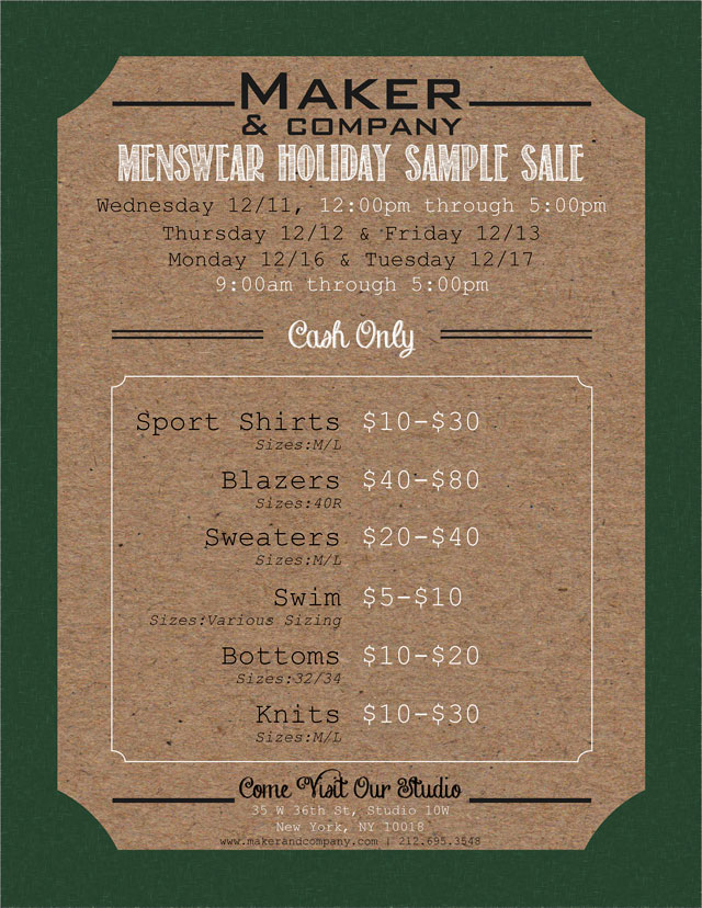 Maker & Company Holiday Sample Sale