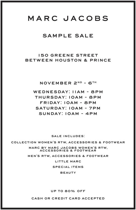 Marc Jacobs Sample Sale