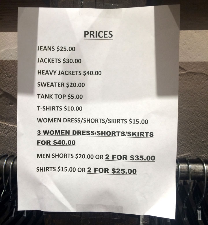 Apparel Price List