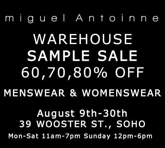 Miguel Antoinne Warehouse Sample Sale