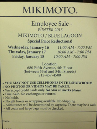Absolutely no photos were allowed at the Mikimoto Sample Sale
