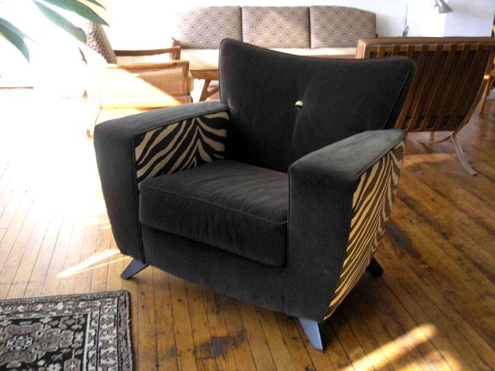 Millennium Collection Zephyr Lounge Chair - Ebony on Maple, Zebra Striie fabric: $850 (orig. $2,800)