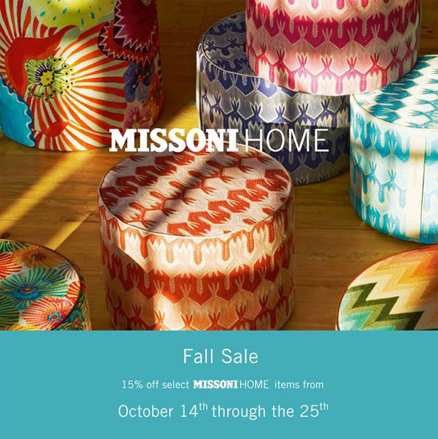 missoni home home accessories new york annual sale. Black Bedroom Furniture Sets. Home Design Ideas