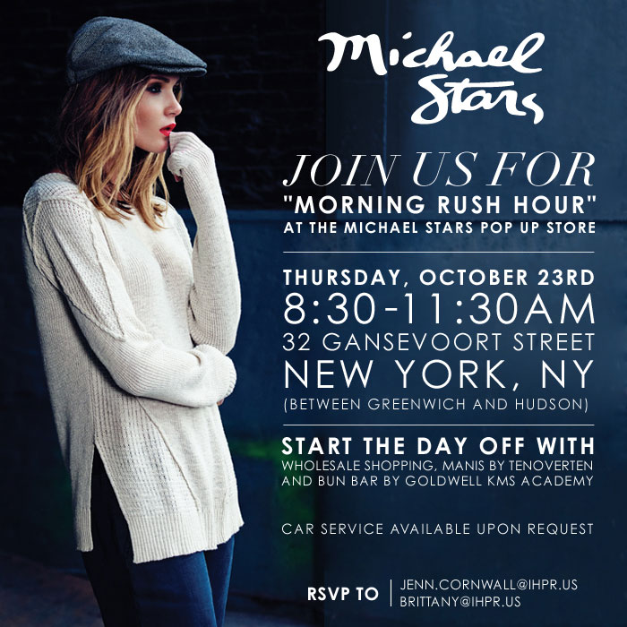 """""""Morning Rush Hour"""" at the Michael Stars NYC Pop Up Store"""
