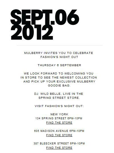 Mulberry Fashion's Night Out Event