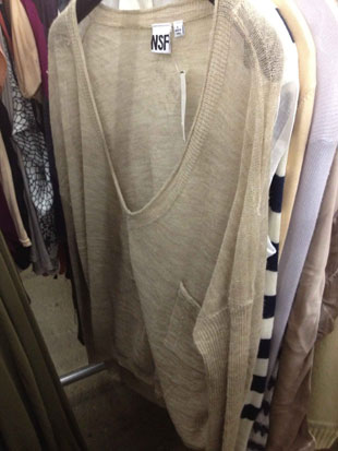 NSF Deep Plunging V-Neck Oatmeal Boyfriend Sweater in Size L ($109)