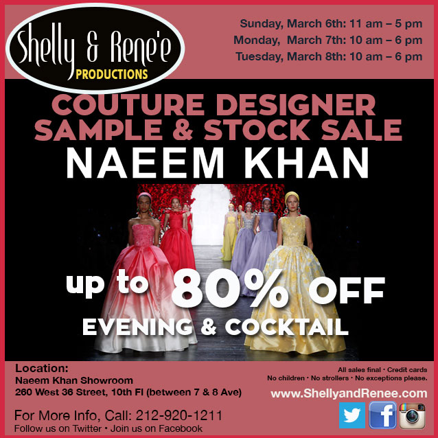 Naeem Khan Couture Designer Sample & Stock Sale