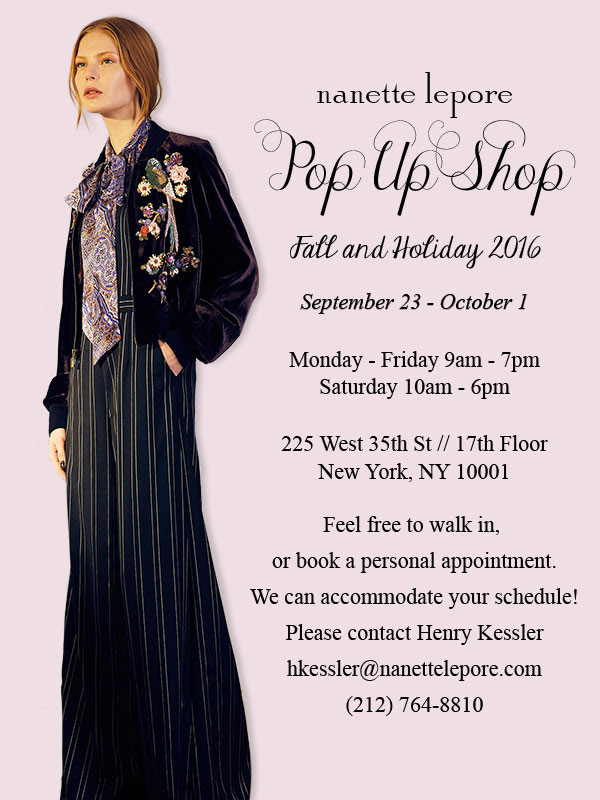 Nanette Lepore Fall and Holiday 2016 Pop Up Shop