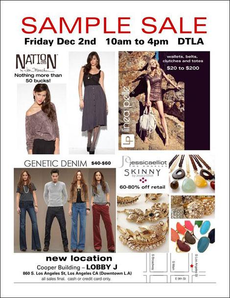 Nation LTD, Linea Pelle, Jessica Elliot, and Genetic Denim Sample Sale