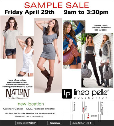Nation LTD, Linea Pelle, Jessica Elliot, and Genetic Denim Sample Sale