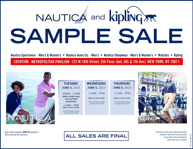 Nautica & Kipling Sample Sale