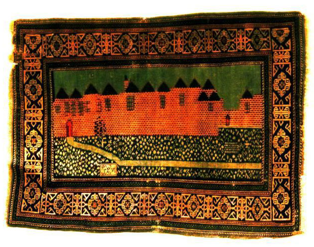 1880 rug from Kuba in the Caucuses, (below) depicting the wall of Jerusalem.