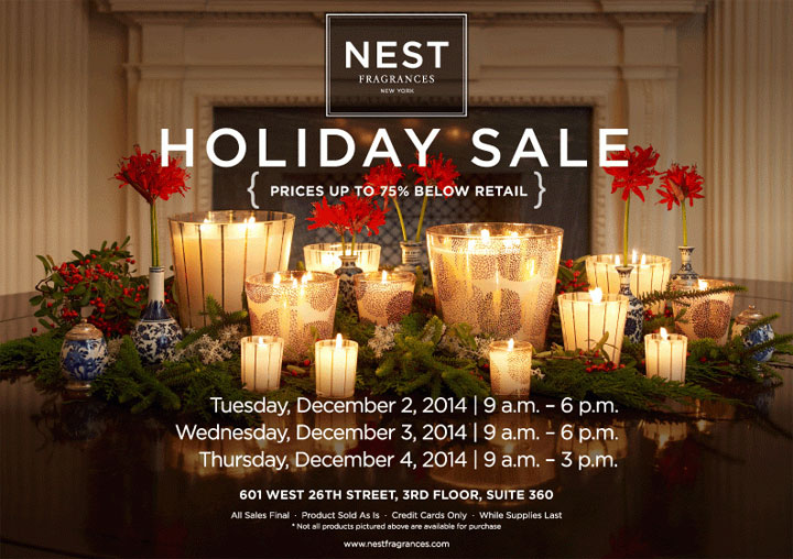 NEST Fragrances New York Holiday Sample Sale - TheStylishCity.com