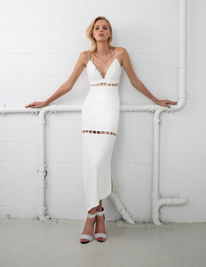 Nicole Miller Collection Techy Crepe Loop Tiers Maxi Dress