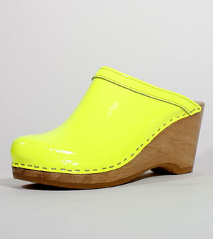 No.6 Old School Clog on Wedge Base in Neon Patent (now $150)