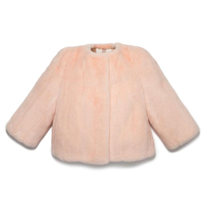 Blush dyed female mink bateau neck crop jacket.