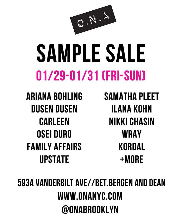 O.N.A Winter Sample Sale